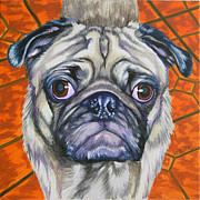 Fawn Pug Paintings - Pug Eyes by Louise Hallauer