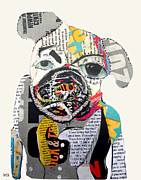 Pulp Mixed Media Acrylic Prints - Pug Fiction Acrylic Print by Brian Buckley