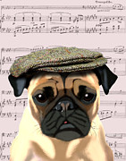 Canine Prints Digital Art Prints - Pug in a Flat Cap Print by Kelly McLaughlan