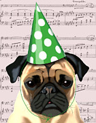 Green Framed Prints Digital Art - Pug in a party Hat by Kelly McLaughlan