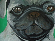 Animal Lover Paintings - Pug by Leslie Manley