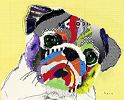 Collage Mixed Media Prints - Pug Print by Michel  Keck