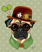 Dog Framed Prints Digital Art Framed Prints - Pug Steampunk in a Bowler Hat Framed Print by Kelly McLaughlan