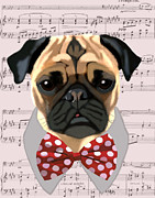 Canine Prints Digital Art Prints - Pug With Bow Tie Print by Kelly McLaughlan