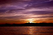 Beautiful Purples Prints - Puget Sound Sunset Print by Russell Shively