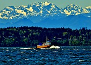 Olympic Mountains Framed Prints - Puget Sound Tugboat Framed Print by Benjamin Yeager