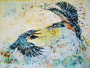 Spray Paintings - Pugnacious Kingfishers by Zaira Dzhaubaeva