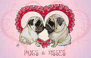Canine Caricatures By John LaFree - Pugs and Kisses