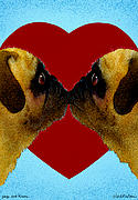 Kisses Posters - Pugs And Kisses... Poster by Will Bullas
