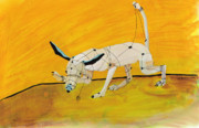White Dog Prints - Pulling My Own Strings Print by Pat Saunders-White