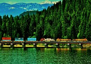Burlington Northern Prints - Pulling Through Sandpoint Print by Benjamin Yeager