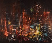 City At Night Paintings - Pulse of the City by Tom Shropshire