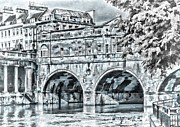 Pulteney Bridge Framed Prints - Pulteney Bridge Bath - mono Framed Print by Paul Gulliver