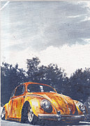 Historic Vehicle Pastels Prints - Pumkin Pie Print by Sharon Poulton
