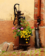 Kaysersberg Photos - Pump and Flowers in Kaysersberg France by Greg Matchick