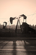 Pumping Oil Framed Prints - Pumpjack Framed Print by Viktor Savchenko