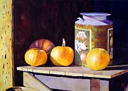 Watercolor  Paintings - Pumpkiins At Collier Farm by Robert Hooper