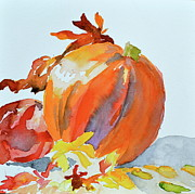 Cornucopia Painting Metal Prints - Pumpkin and Pomegranate Metal Print by Beverley Harper Tinsley