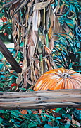 Autumn Landscape Painting Framed Prints - Pumpkin Framed Print by Anthony Mezza