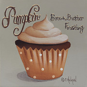 Cupcake Art Prints - Pumpkin Brown Butter Frosting Cupcake Print by Catherine Holman