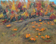 Pumpkins Paintings - Pumpkin Field by Judith Rhue