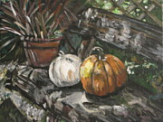 Pumpkins Paintings - Pumpkin Friends on Bench by Whitney Wiedner
