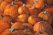 Pumpkins Paintings - Pumpkin Harvest by Ted Head