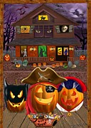 Haunted House Digital Art Framed Prints - Pumpkin Masquerade Framed Print by Glenn Holbrook