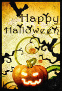 Halloween Card Mixed Media Posters - Pumpkin Poster by Mo T