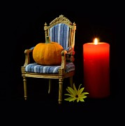 Joy Mixed Media - Pumpkin on a chair with candle by Gynt  