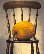 Halloween Night Posters - Pumpkin On Chair Poster by Christopher and Amanda Elwell