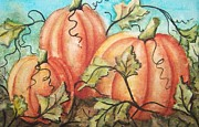 Pumpkins Paintings - Pumpkin Patch by Conni  Reinecke