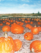 Iowa Pastels Prints - Pumpkin Patch Print by Flo Hayes