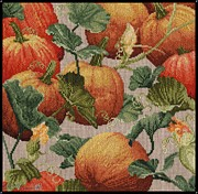Cotton Tapestries - Textiles Framed Prints - Pumpkin Patch Framed Print by J McCombie