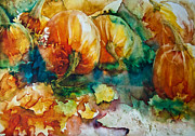 Pumpkins Painting Metal Prints - Pumpkin Patch Metal Print by Jani Freimann