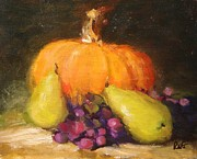 Pumpkins Paintings - Pumpkin pears and grapes by R W Goetting