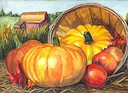 Garden Scene Drawings Metal Prints - Pumpkin Pickin Metal Print by Carol Wisniewski