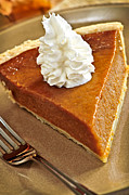 Cream Photos - Pumpkin pie by Elena Elisseeva
