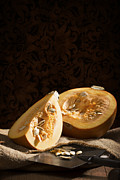 Burlap Prints - Pumpkin Slice Print by Christopher and Amanda Elwell