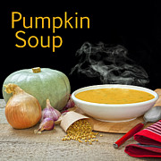 Soup Bowl Framed Prints - Pumpkin Soup Concept Framed Print by Colin and Linda McKie
