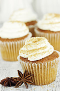 Anise Photos - Pumpkin Spice Cupcakes by Stephanie Frey