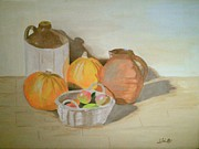 Pumpkins Paintings - Pumpkins and Apples by John Davis