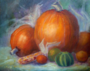Pumpkins Paintings - Pumpkins and Corn by Carolyn Jarvis