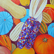 Pumpkins Paintings - Pumpkins and Gords by Toni Silber-Delerive