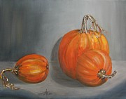 Pumpkins Paintings - Pumpkins by Anna Ruzsan