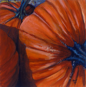 Pumpkins Paintings - Pumpkins by Betsee  Talavera