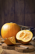 Burlap Prints - Pumpkins Print by Christopher and Amanda Elwell
