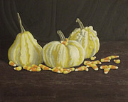 Pumpkins Paintings - Pumpkins in autumns warm light by Anthony Joseph