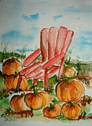 Pumpkins Paintings - Pumpkins want a Seat by Elaine Duras