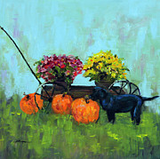 Black Lab Puppy Paintings - Pumpkins with Black Lab Puppy by Shelley Koopmann